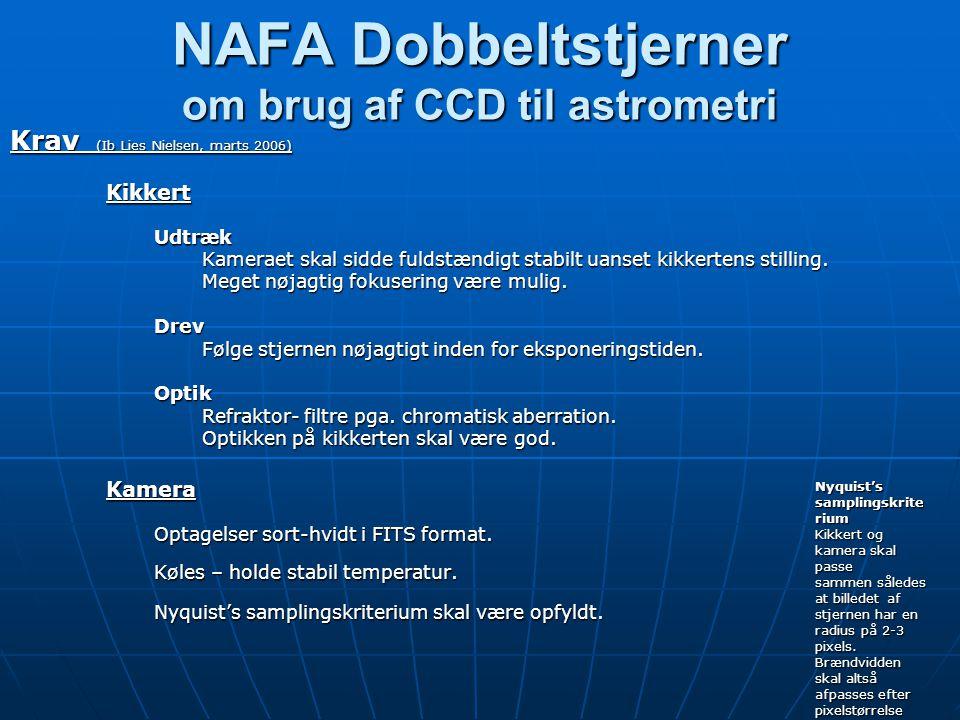 NAFA Dobbeltstjerner om brug af CCD til astrometri Krav (Ib Lies Nielsen, marts 2006) KikkertUdtræk Kameraet skal sidde fuldstændigt stabilt uanset kikkertens stilling.