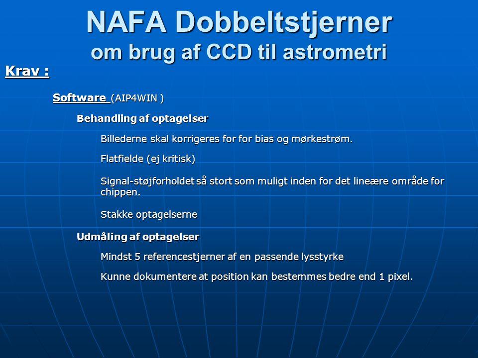 NAFA Dobbeltstjerner om brug af CCD til astrometri Krav : Software (AIP4WIN ) Behandling af optagelser Billederne skal korrigeres for for bias og mørkestrøm.