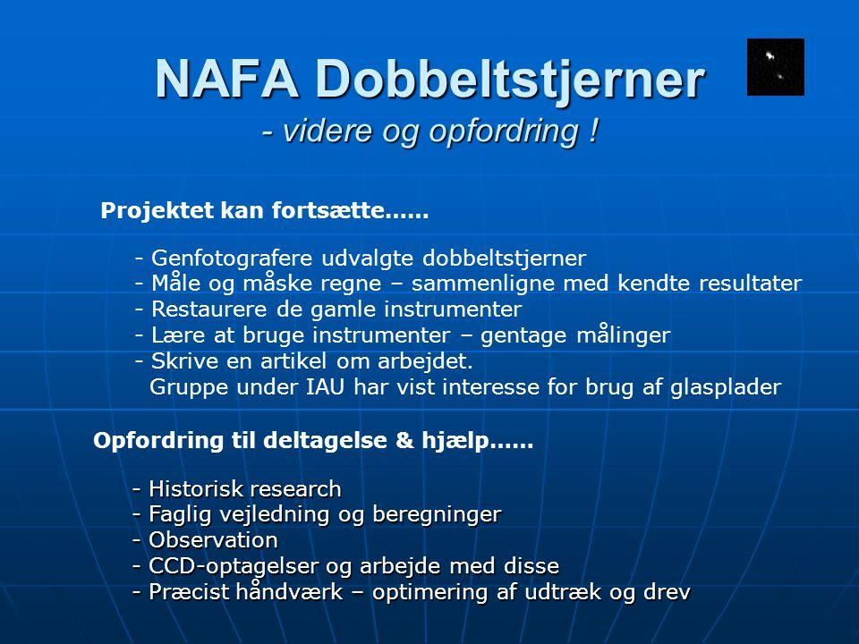 NAFA Dobbeltstjerner - videre og opfordring .