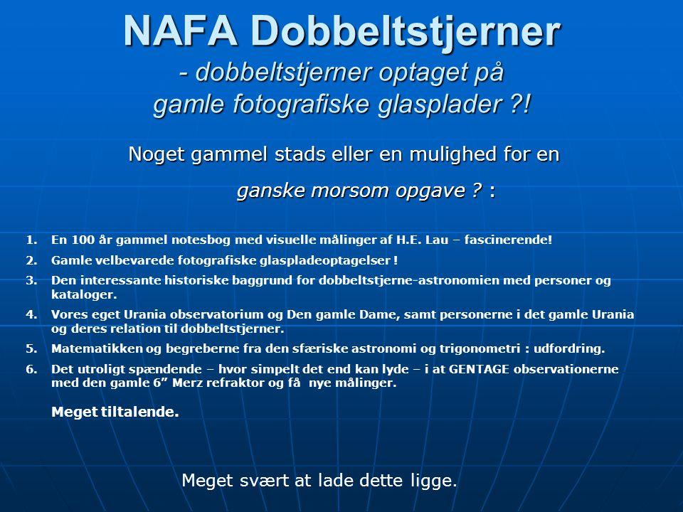 NAFA Dobbeltstjerner - dobbeltstjerner optaget på gamle fotografiske glasplader .