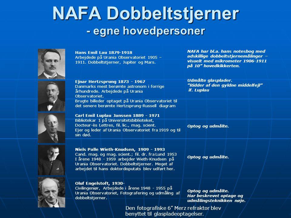 NAFA Dobbeltstjerner - egne hovedpersoner NAFA Dobbeltstjerner - egne hovedpersoner Hans Emil Lau 1879-1918 Arbejdede på Urania Observatoriet 1905 – 1911.