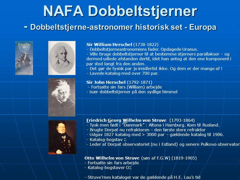 NAFA Dobbeltstjerner - Dobbeltstjerne-astronomer historisk set - Europa Friedrich Georg Wilhelm von Struve (1793-1864) - Tysk men født i Danmark : Altona i Hamburg.