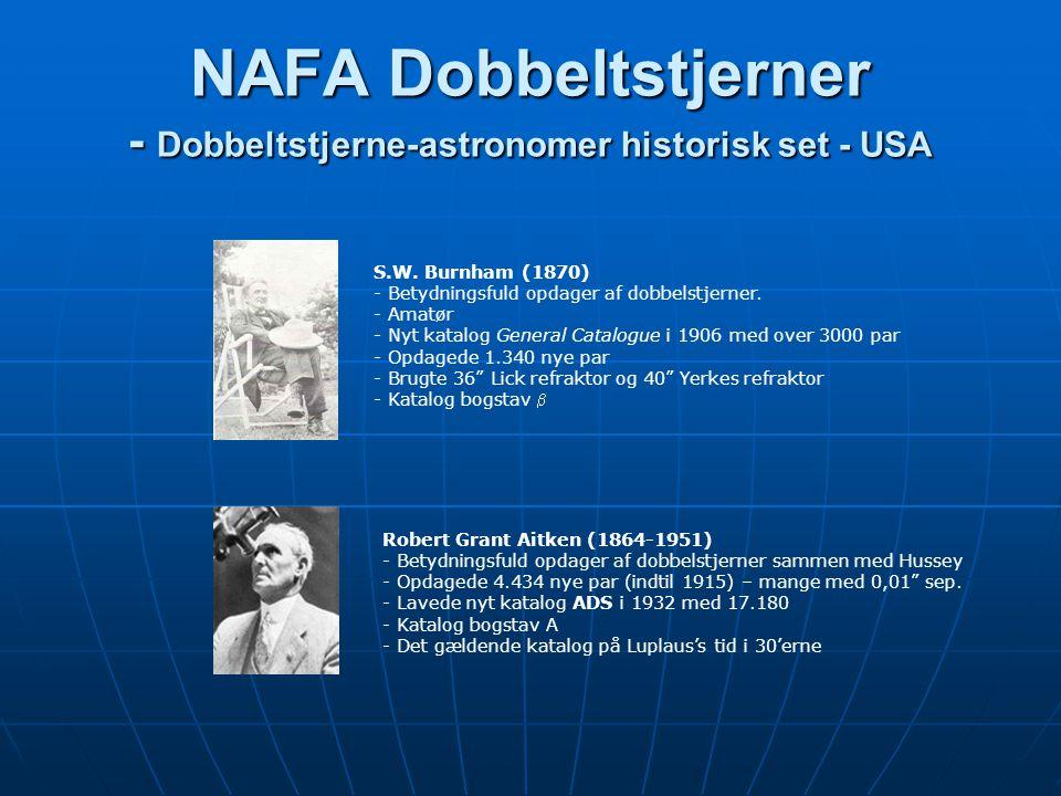 NAFA Dobbeltstjerner - Dobbeltstjerne-astronomer historisk set - USA S.W.