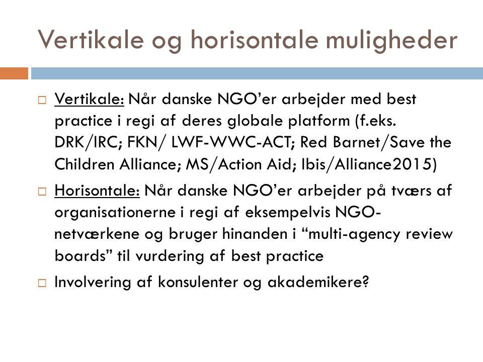 Vertikale og horisontale muligheder  Vertikale: Når danske NGO'er arbejder med best practice i regi af deres globale platform (f.eks.