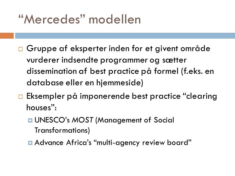 Mercedes modellen  Gruppe af eksperter inden for et givent område vurderer indsendte programmer og sætter dissemination af best practice på formel (f.eks.
