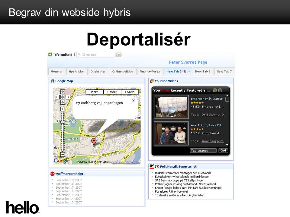 Begrav din webside hybris Deportalisér