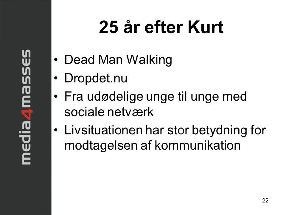 22 25 år efter Kurt •Dead Man Walking •Dropdet.nu •Fra udødelige unge til unge med sociale netværk •Livsituationen har stor betydning for modtagelsen af kommunikation