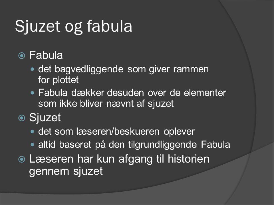 Sjuzet og fabula  Fabula  det bagvedliggende som giver rammen for plottet  Fabula dækker desuden over de elementer som ikke bliver nævnt af sjuzet