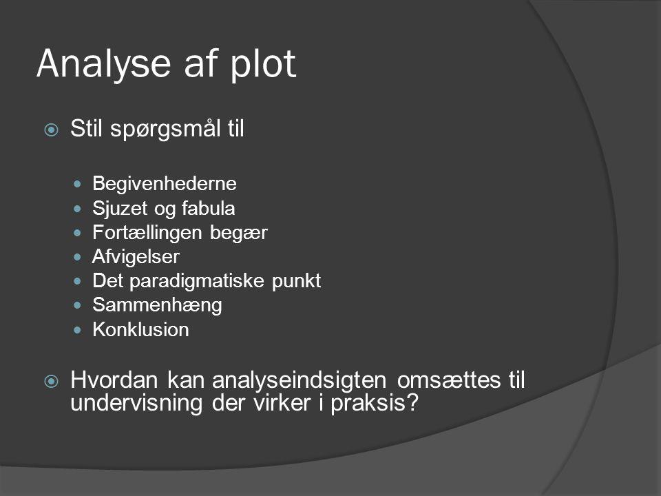 Analyse af plot  Stil spørgsmål til  Begivenhederne  Sjuzet og fabula  Fortællingen begær  Afvigelser  Det paradigmatiske punkt  Sammenhæng  K