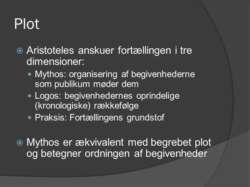 Plot  Aristoteles anskuer fortællingen i tre dimensioner:  Mythos: organisering af begivenhederne som publikum møder dem  Logos: begivenhedernes op