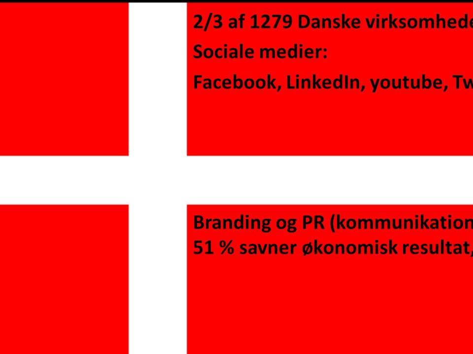 2/3 af 1279 Danske virksomheder Sociale medier: Facebook, LinkedIn, youtube, Twitter Branding og PR (kommunikations afd) 51 % savner økonomisk resultat,