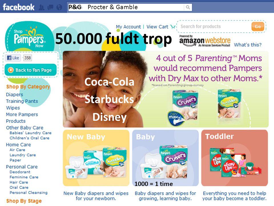 50.000 fuldt trop Coca-Cola Starbucks Disney P&G Procter & Gamble 1000 = 1 time
