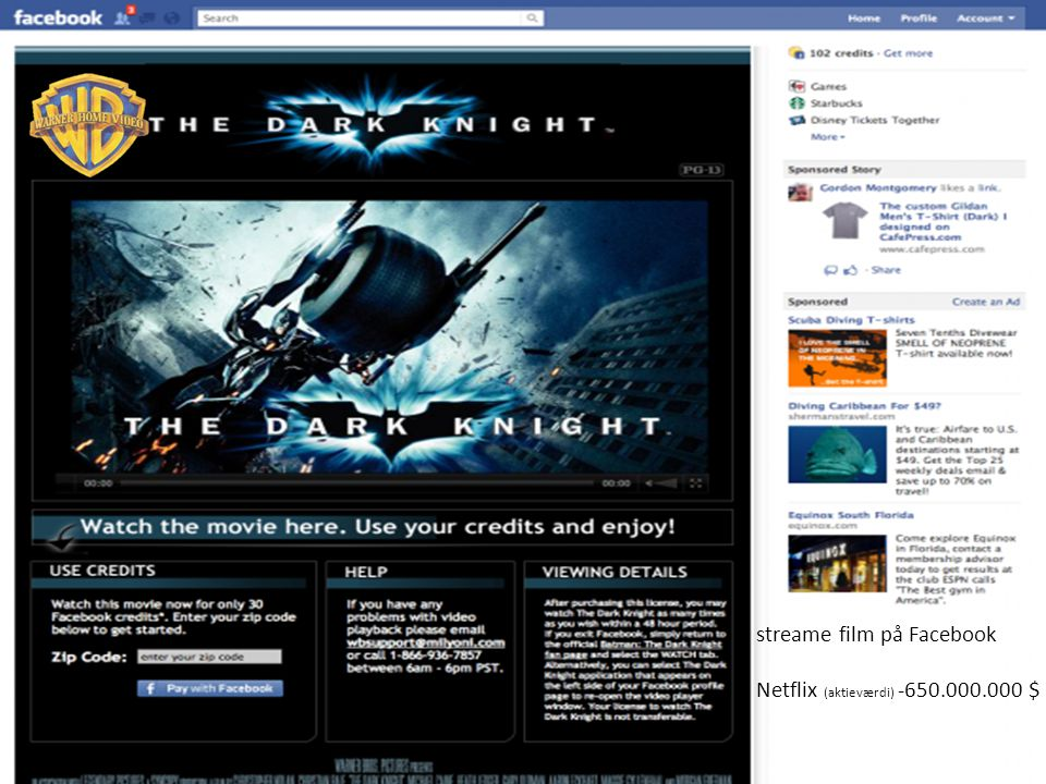 streame film på Facebook Netflix (aktieværdi) -650.000.000 $