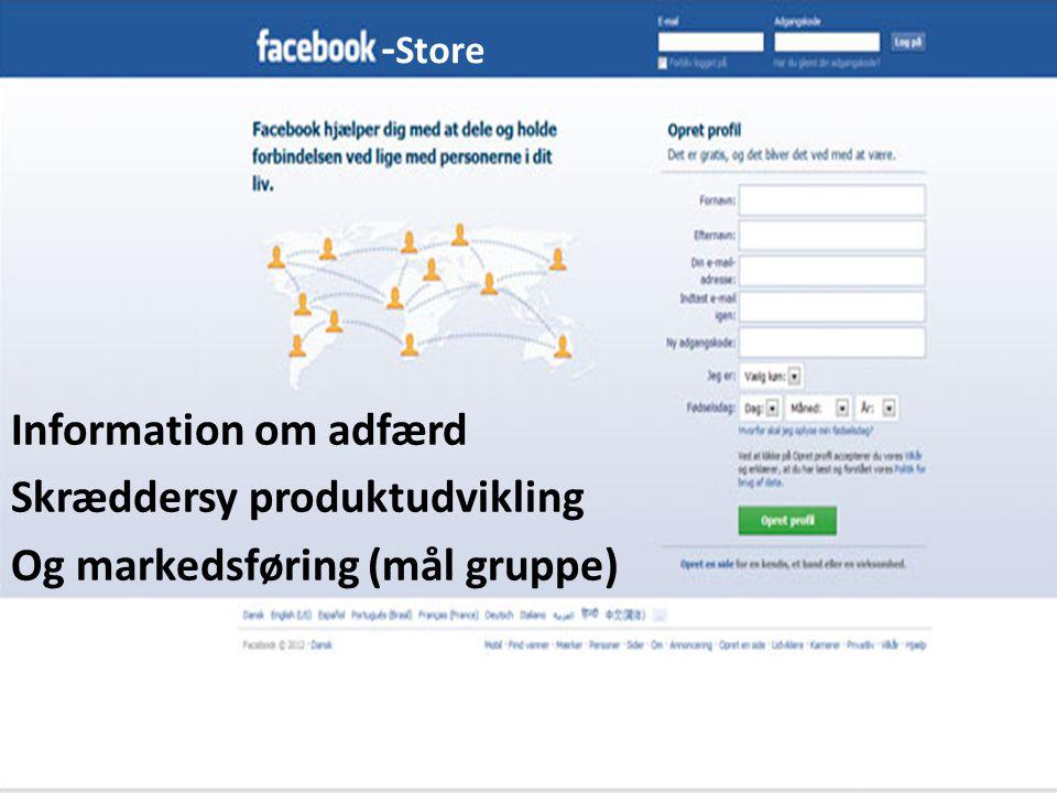 Information om adfærd Skræddersy produktudvikling Og markedsføring (mål gruppe) - Store
