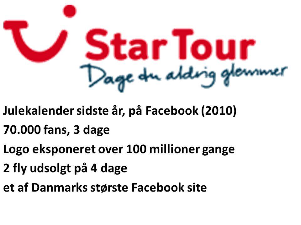 Julekalender sidste år, på Facebook (2010) 70.000 fans, 3 dage Logo eksponeret over 100 millioner gange 2 fly udsolgt på 4 dage et af Danmarks største Facebook site - Store