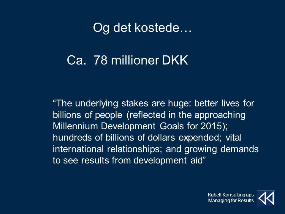 Kabell Konsulting aps Managing for Results Og det kostede… Ca.