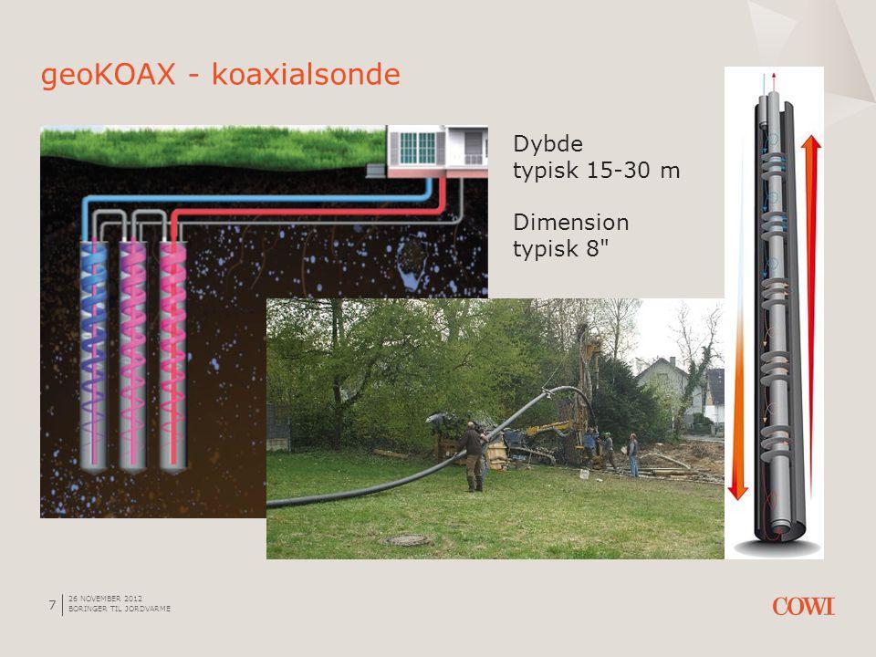 26 NOVEMBER 2012 BORINGER TIL JORDVARME 7 geoKOAX - koaxialsonde Dybde typisk 15-30 m Dimension typisk 8