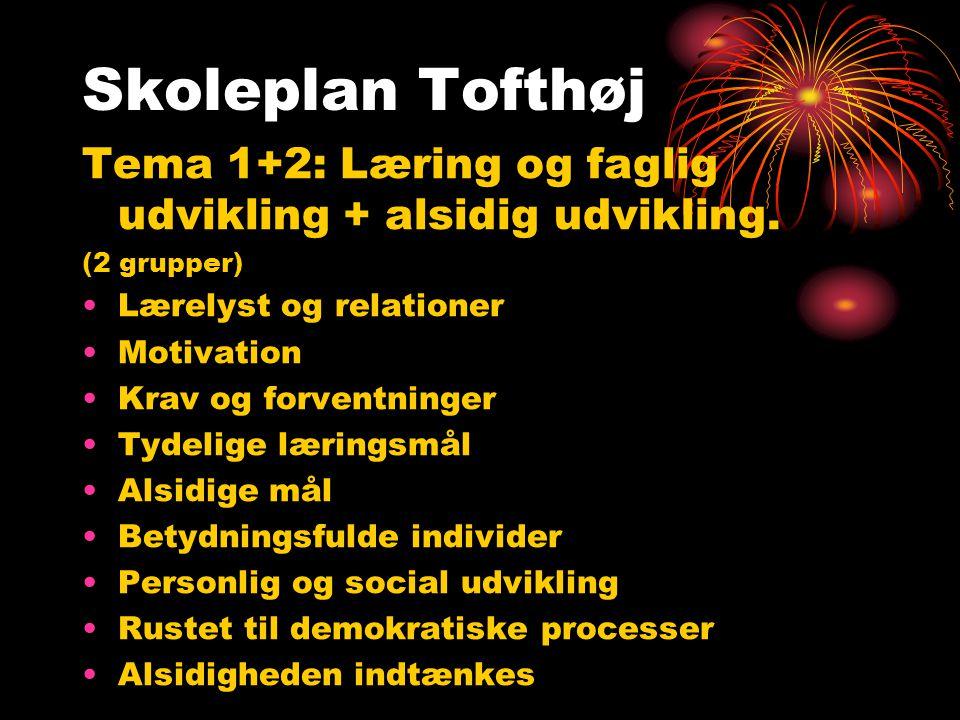 Tema 1+2: Læring og faglig udvikling + alsidig udvikling.