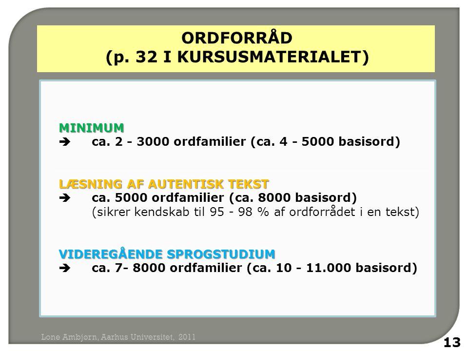 MINIMUM MINIMUM  ca. 2 - 3000 ordfamilier (ca.
