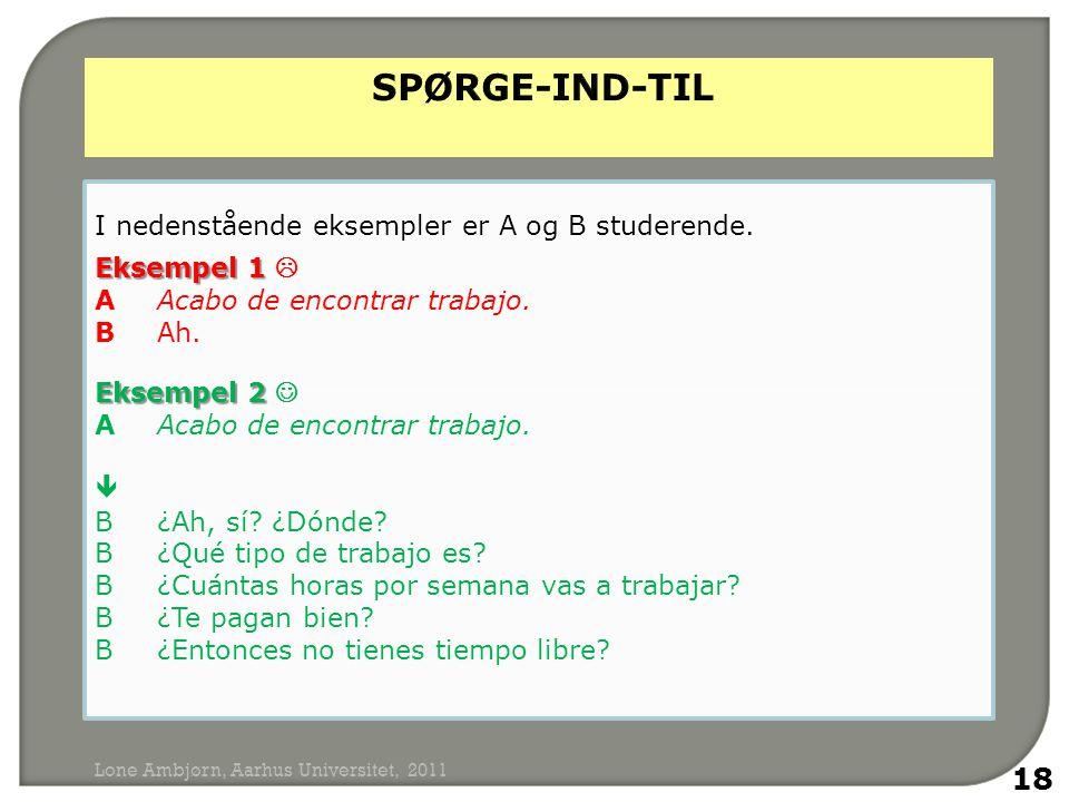 I nedenstående eksempler er A og B studerende. Eksempel 1 Eksempel 1  AAcabo de encontrar trabajo.