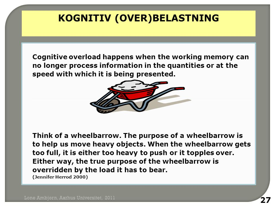 Cognitive overload happens when the working memory can no longer process information in the quantities or at the speed with which it is being presented.
