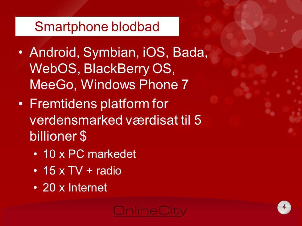 4 •Android, Symbian, iOS, Bada, WebOS, BlackBerry OS, MeeGo, Windows Phone 7 •Fremtidens platform for verdensmarked værdisat til 5 billioner $ •10 x PC markedet •15 x TV + radio •20 x Internet Smartphone blodbad