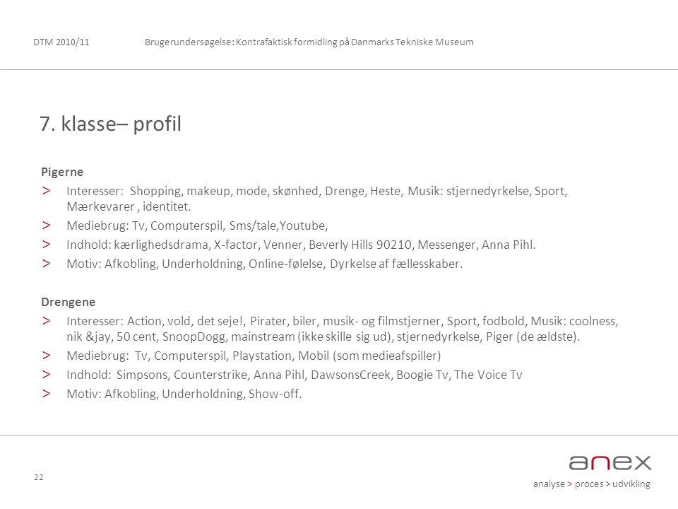 analyse > proces > udvikling Brugerundersøgelse: Kontrafaktisk formidling på Danmarks Tekniske MuseumDTM 2010/11 22 Pigerne > Interesser: Shopping, makeup, mode, skønhed, Drenge, Heste, Musik: stjernedyrkelse, Sport, Mærkevarer, identitet.
