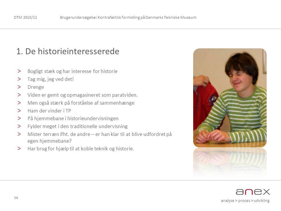 analyse > proces > udvikling Brugerundersøgelse: Kontrafaktisk formidling på Danmarks Tekniske MuseumDTM 2010/11 36 > Bogligt stæk og har interesse for historie > Tag mig, jeg ved det.