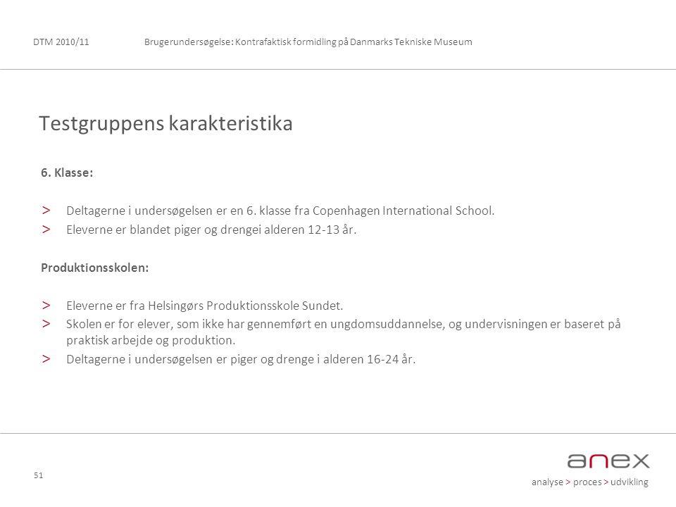 analyse > proces > udvikling Brugerundersøgelse: Kontrafaktisk formidling på Danmarks Tekniske MuseumDTM 2010/11 51 6.
