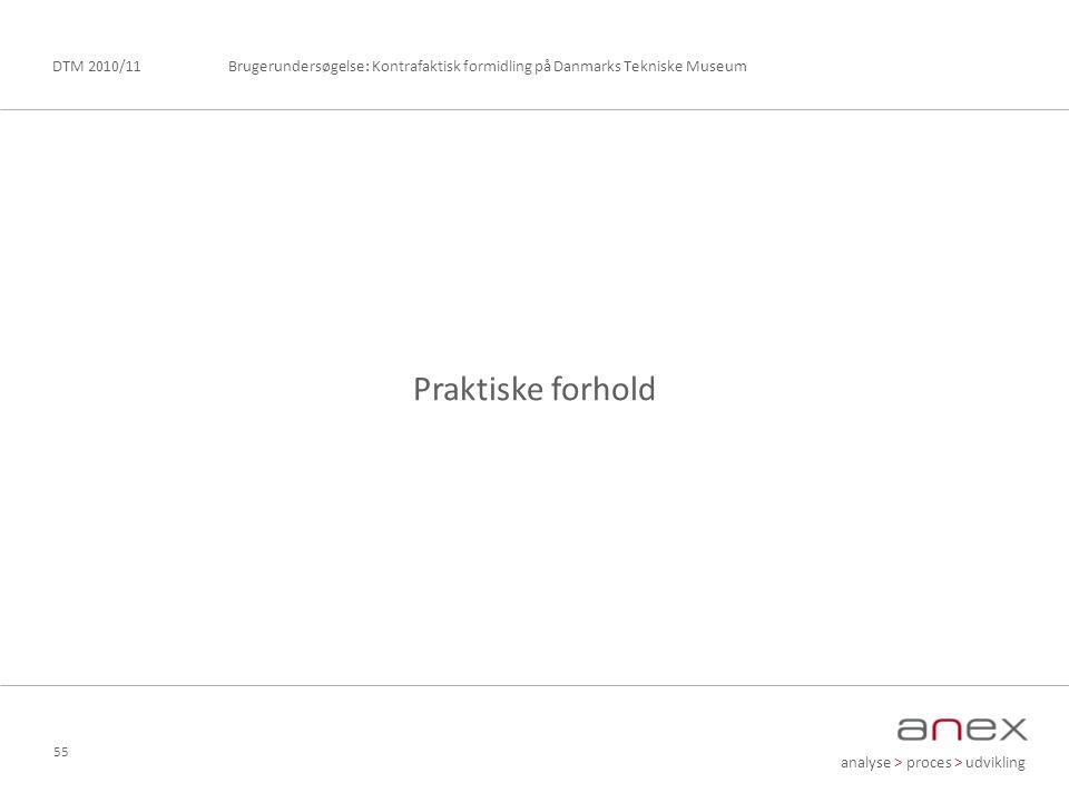 analyse > proces > udvikling Brugerundersøgelse: Kontrafaktisk formidling på Danmarks Tekniske MuseumDTM 2010/11 55 Praktiske forhold