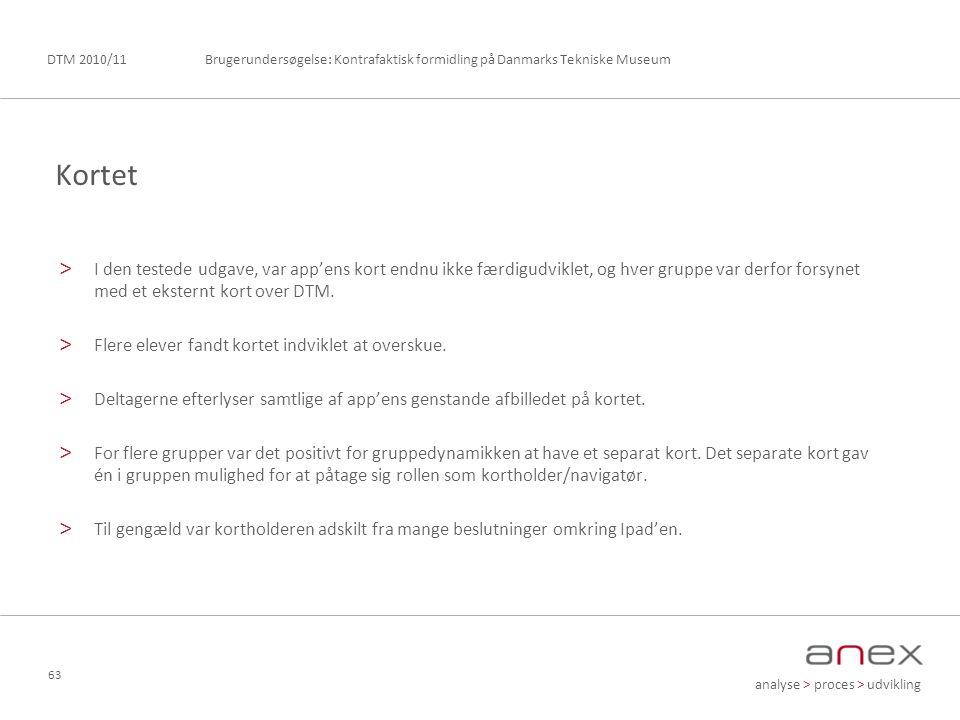 analyse > proces > udvikling Brugerundersøgelse: Kontrafaktisk formidling på Danmarks Tekniske MuseumDTM 2010/11 63 > I den testede udgave, var app'ens kort endnu ikke færdigudviklet, og hver gruppe var derfor forsynet med et eksternt kort over DTM.