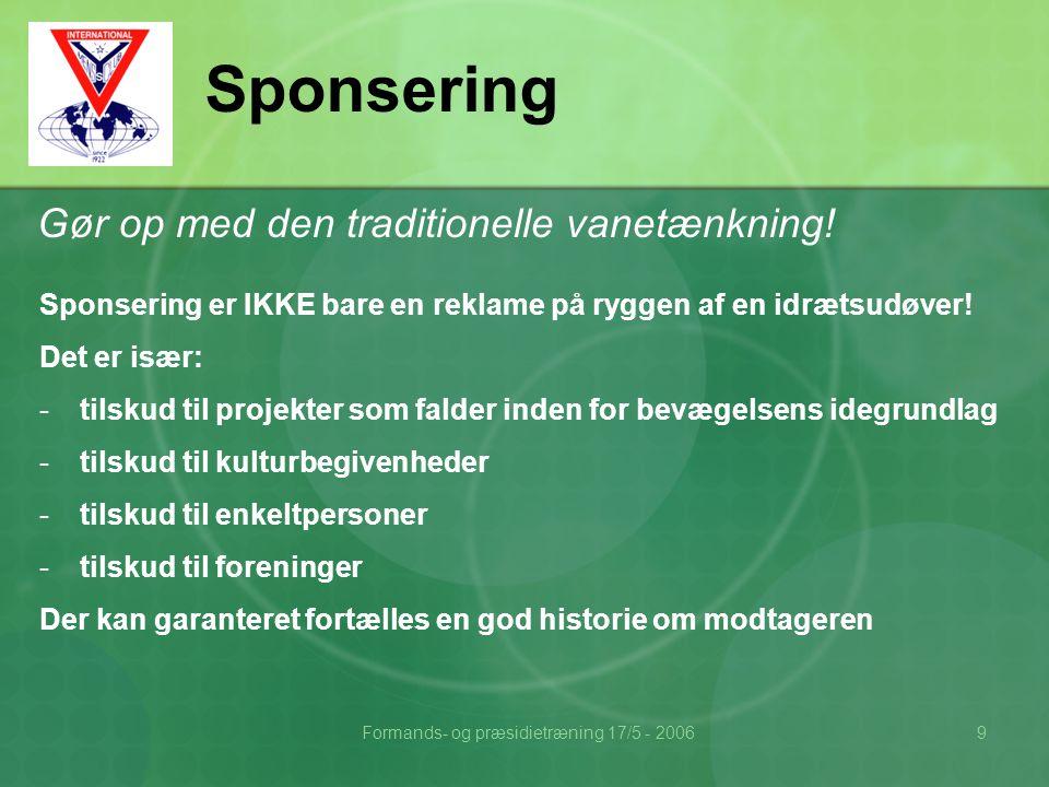 Formands- og præsidietræning 17/5 - 20069 Sponsering Gør op med den traditionelle vanetænkning.