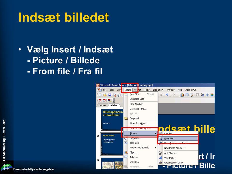 Danmarks Miljøundersøgelser Billedoptimering I PowerPoint Indsæt billedet •Vælg Insert / Indsæt - Picture / Billede - From file / Fra fil