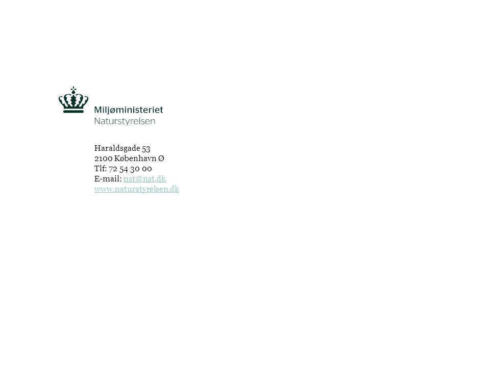 Tekst starter uden punktopstilling For at få punktopstilling på teksten (flere niveauer findes), brug >Forøg listeniveau- knappen i Topmenuen For at få venstrestillet tekst uden punktopstilling, brug >Formindsk listeniveau- knappen i Topmenuen NATURSTYRELSEN, NATURPLANLÆGNING, NATURPROJEKTER OG SKOVSIDE 7 Haraldsgade 53 2100 København Ø Tlf: 72 54 30 00 E-mail: nst@nst.dknst@nst.dk www.naturstyrelsen.dk