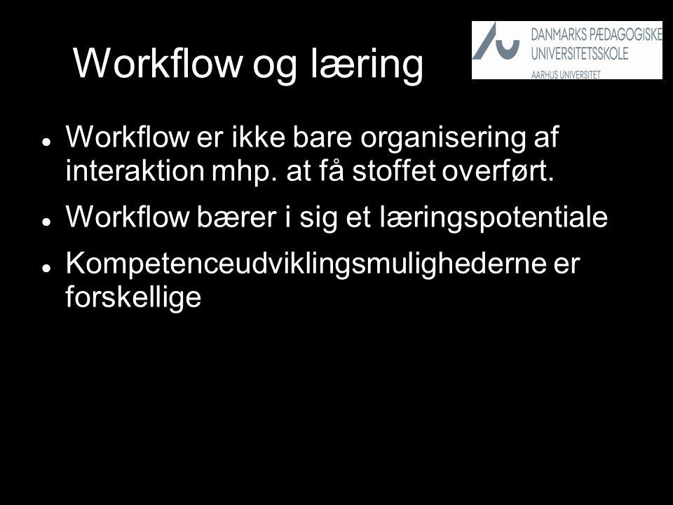 Workflow og læring  Workflow er ikke bare organisering af interaktion mhp.