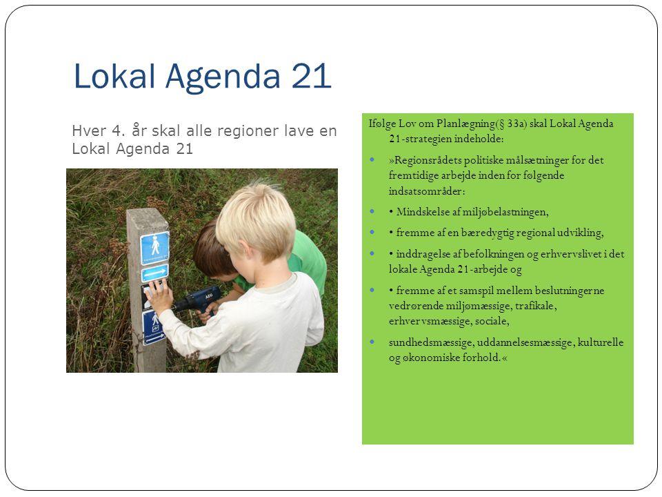 Lokal Agenda 21 Ifølge Lov om Planlægning(§ 33a) skal Lokal Agenda 21-strategien indeholde:  »Regionsrådets politiske målsætninger for det fremtidige arbejde inden for følgende indsatsområder:  • Mindskelse af miljøbelastningen,  • fremme af en bæredygtig regional udvikling,  • inddragelse af befolkningen og erhvervslivet i det lokale Agenda 21-arbejde og  • fremme af et samspil mellem beslutningerne vedrørende miljømæssige, trafikale, erhvervsmæssige, sociale,  sundhedsmæssige, uddannelsesmæssige, kulturelle og økonomiske forhold.« Hver 4.
