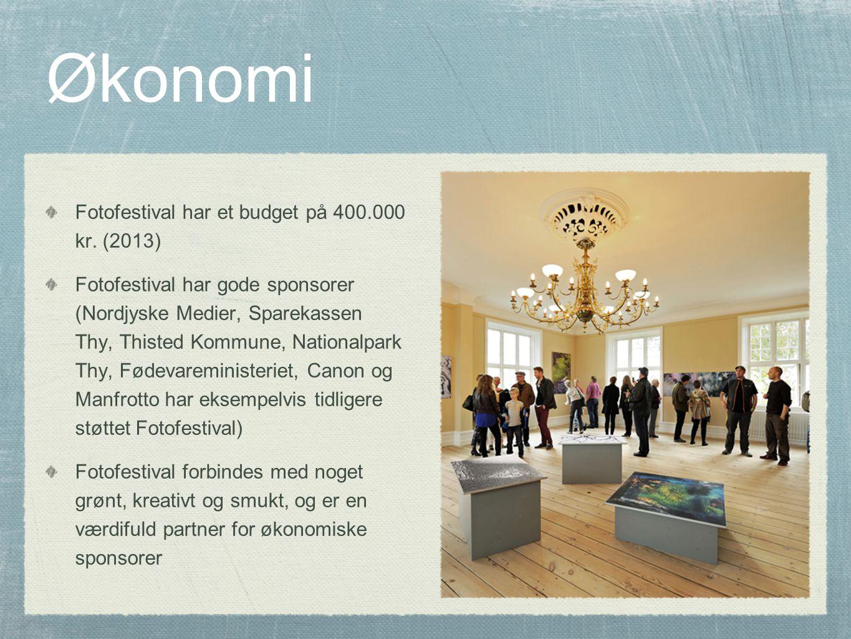 Økonomi Fotofestival har et budget på 400.000 kr.