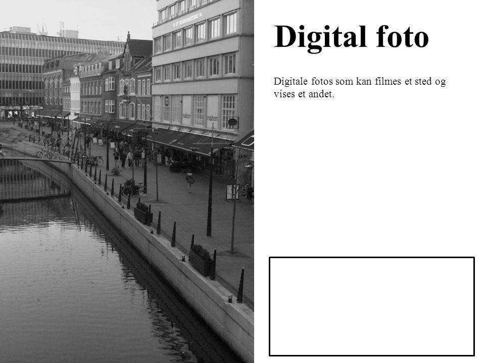 Digital foto Digitale fotos som kan filmes et sted og vises et andet.