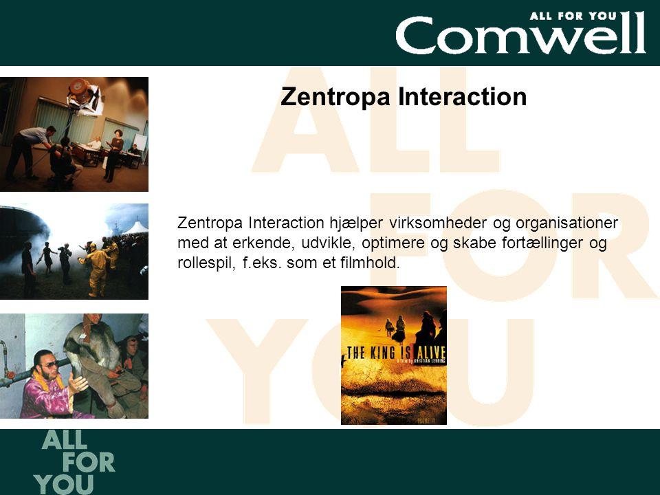 Zentropa Interaction hjælper virksomheder og organisationer med at erkende, udvikle, optimere og skabe fortællinger og rollespil, f.eks.