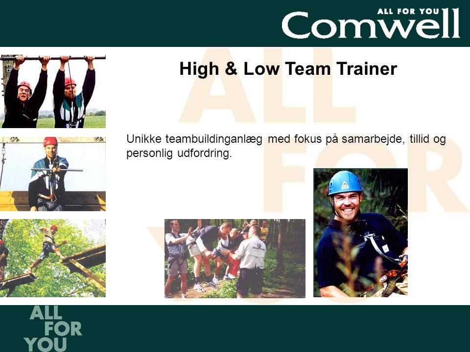 High & Low Team Trainer Unikke teambuildinganlæg med fokus på samarbejde, tillid og personlig udfordring.