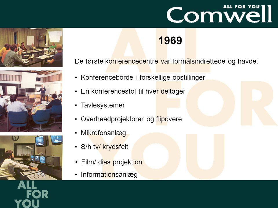 1969 De første konferencecentre var formålsindrettede og havde: •Konferenceborde i forskellige opstillinger •En konferencestol til hver deltager •Tavlesystemer •Overheadprojektorer og flipovere •Mikrofonanlæg •S/h tv/ krydsfelt •Film/ dias projektion •Informationsanlæg