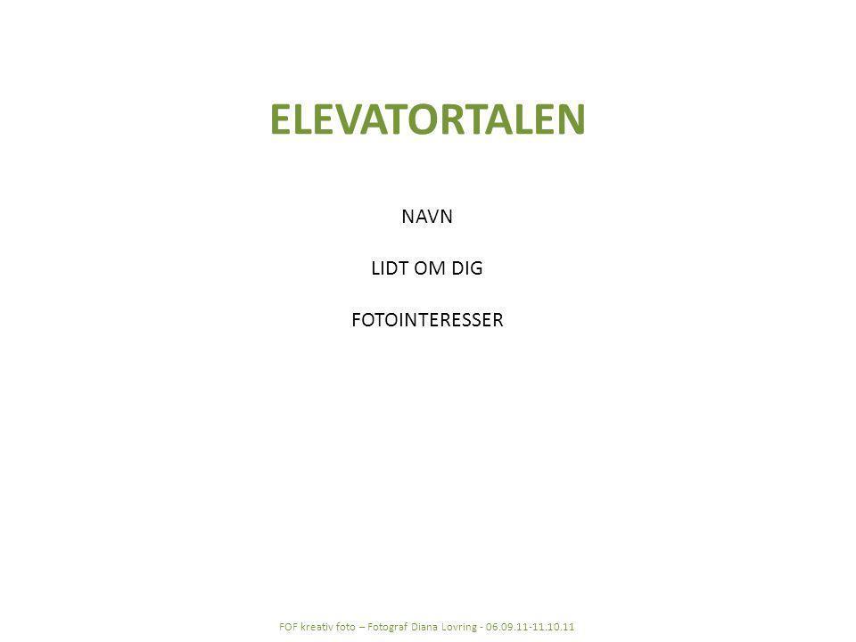 ELEVATORTALEN NAVN LIDT OM DIG FOTOINTERESSER FOF kreativ foto – Fotograf Diana Lovring - 06.09.11-11.10.11