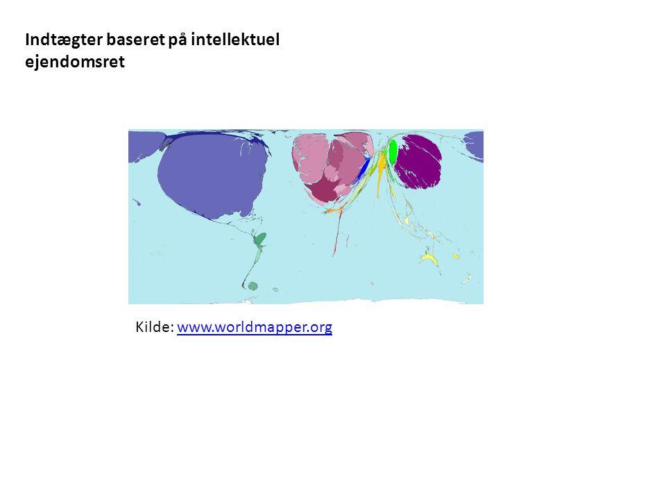 Indtægter baseret på intellektuel ejendomsret Kilde: www.worldmapper.orgwww.worldmapper.org