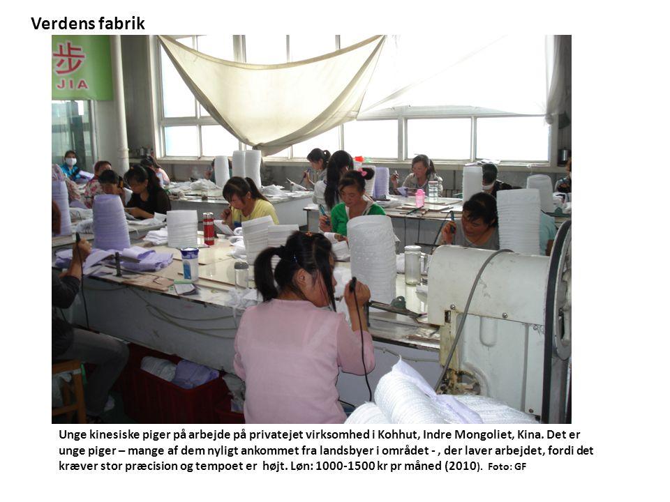 Unge kinesiske piger på arbejde på privatejet virksomhed i Kohhut, Indre Mongoliet, Kina.