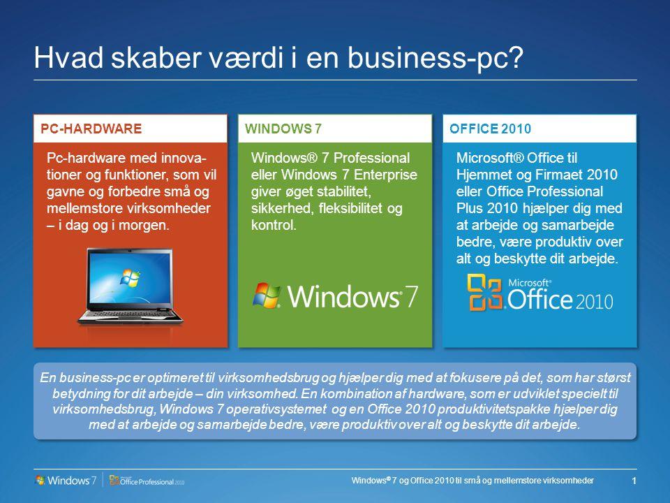 Windows ® 7 og Office 2010 til små og mellemstore virksomheder Hvad skaber værdi i en business-pc.