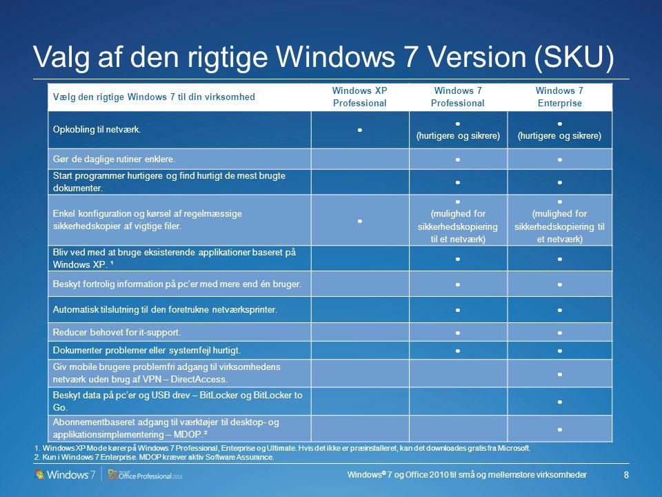 Windows ® 7 og Office 2010 til små og mellemstore virksomheder Valg af den rigtige Windows 7 Version (SKU) 8 Vælg den rigtige Windows 7 til din virksomhed Windows XP Professional Windows 7 Professional Windows 7 Enterprise Opkobling til netværk.● ● (hurtigere og sikrere) ● (hurtigere og sikrere) Gør de daglige rutiner enklere.
