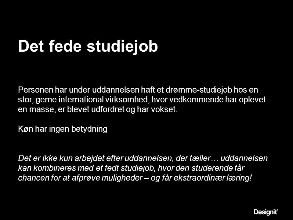 Det fede studiejob Personen har under uddannelsen haft et drømme-studiejob hos en stor, gerne international virksomhed, hvor vedkommende har oplevet en masse, er blevet udfordret og har vokset.