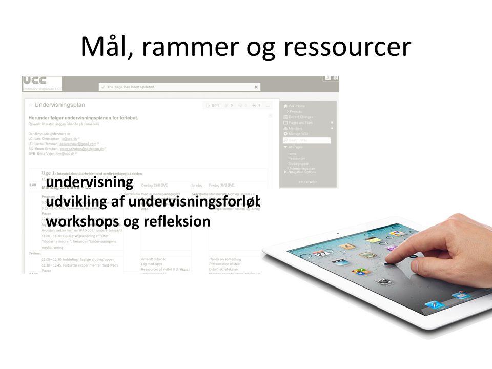 Mål, rammer og ressourcer undervisning udvikling af undervisningsforløb workshops og refleksion