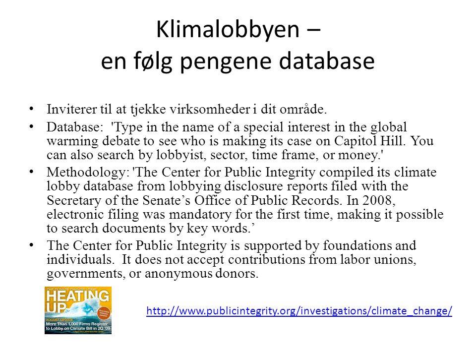 Klimalobbyen – en følg pengene database • Inviterer til at tjekke virksomheder i dit område.