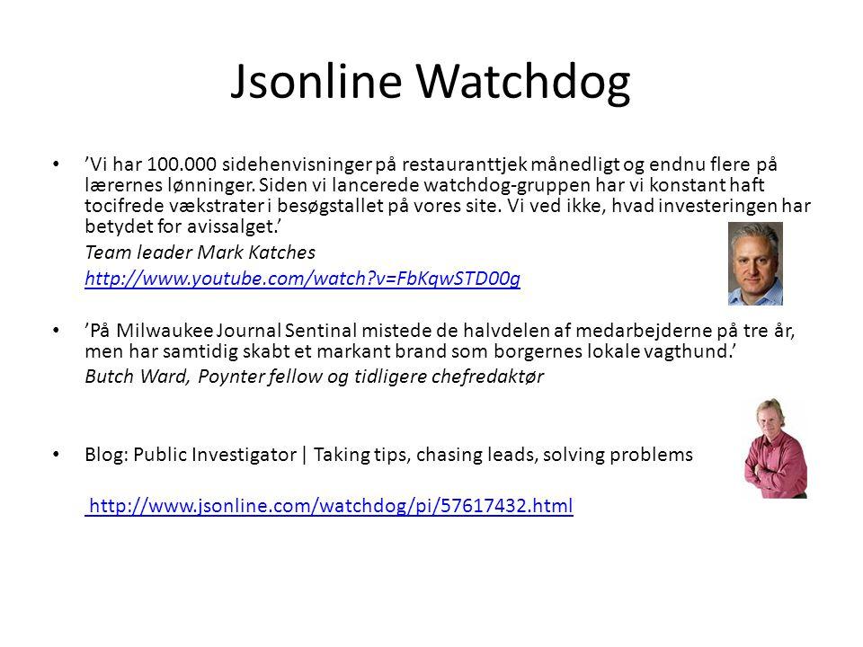 Jsonline Watchdog • 'Vi har 100.000 sidehenvisninger på restauranttjek månedligt og endnu flere på lærernes lønninger.